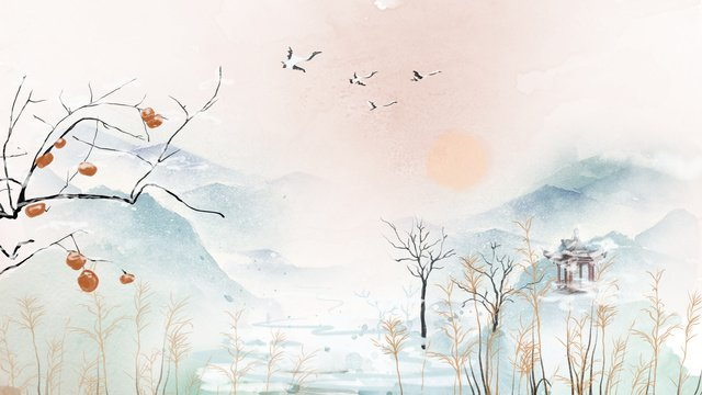 good morning hello watercolor rising sun early winter mountain view llustration image illustration image