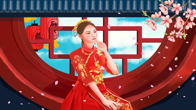 Wedding scene beautiful dream red makeup to marry bride chinese classical, Wedding Scene, Beautiful, Dream illustration image
