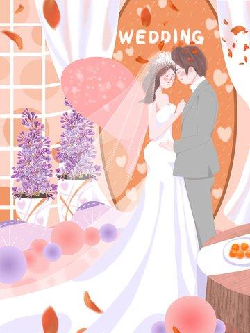 शादी के दृश्य सुंदर सपना रोमांटिक नारंगी गुलदस्ता की पंखुड़ी ताजा चित्रण चित्रण छवि