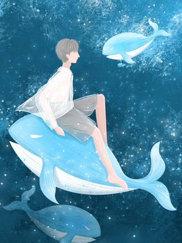 Boy and whale watching the deep sea when healing illustration, Whale, Sea, Boy illustration image