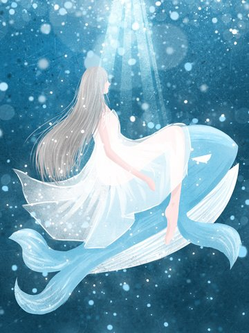 Girl and whale watching the deep sea when healing illustrator, Whale, Sea, Girl illustration image