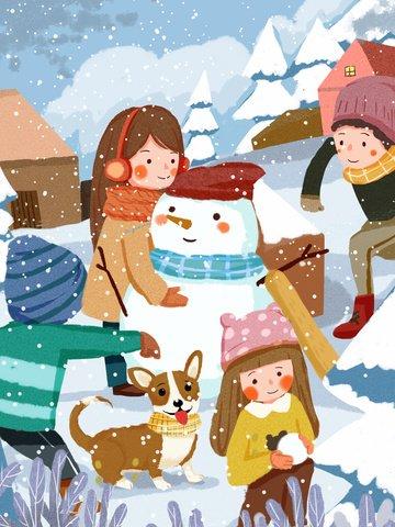 winter kids snowballing snowman warm cute children illustration illustration image
