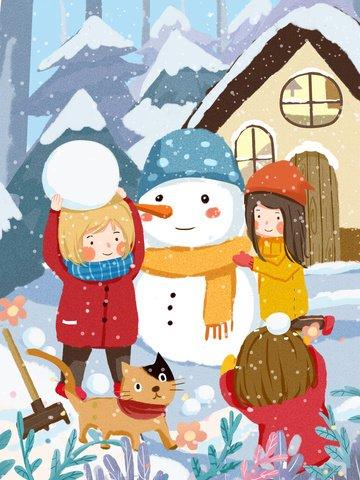 winter morning kids playing snowballs snowman cute warm illustration llustration image