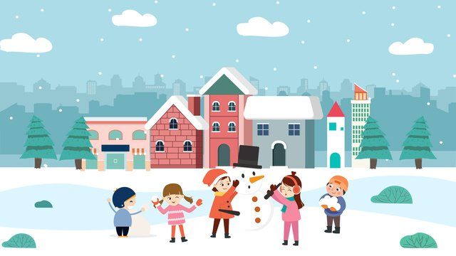 illustration of winter friends playing snowman together llustration image illustration image