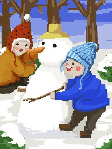 pixel painting winter snowing boy girl snowman llustration image