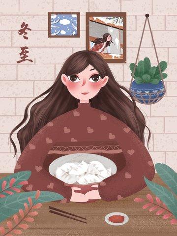 winter solstice retro texture festival girl cartoon minh họa Hình minh họa