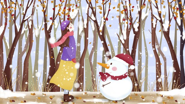Fresh and beautiful winter warm snow illustration, Winter, Watching Snow, Snowing illustration image