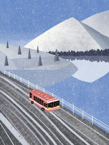 겨울 눈 덮인 그림 삽화 소재