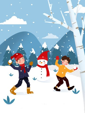 winter two boys playing snowballs in the woods illustration llustration image