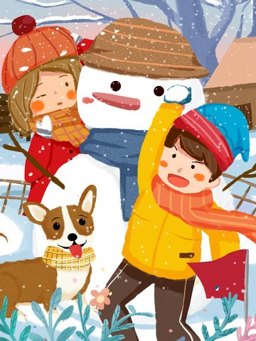 winter brother and sister snowman fight snowballs cute warm childrens illustration illustration image
