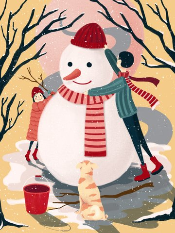 original winter outdoor snowman scene illustration illustration image