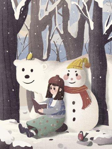 winter snowballing snowman illustration llustration image