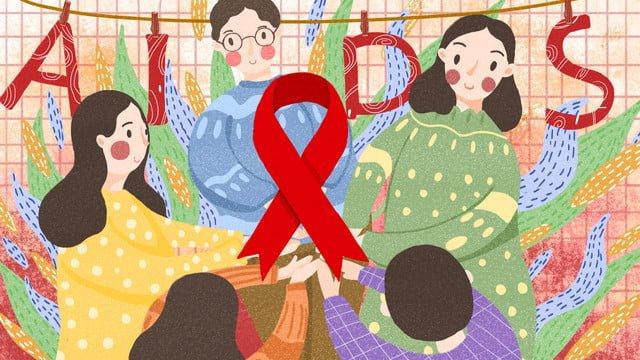 우리가 함께 지키는 세계 에이즈의 날 에이즈 삽화 소재 삽화 이미지