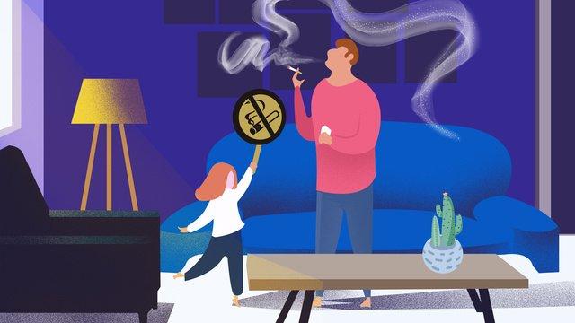 世界は喫煙日受動喫煙イラストをやめた世界終了日  間接喫煙  大気汚染 PNGおよびPSD illustration image