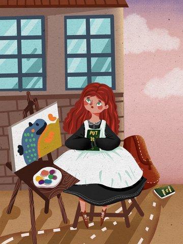 世界の青少年デーの女の子、通りの角で本を読んで、かわいいイラストを描く イラスト素材