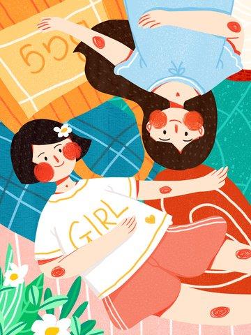 世界青少年デー女性青少年カジュアルかわいいシンプルフラットオリジナルイラスト世界ユースデー  青春日  青少年 PNGおよびPSD illustration image