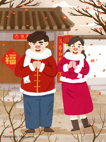 Year of the pig new original hand-painted illustration, Year Of The Pig, New Year, New Year illustration image