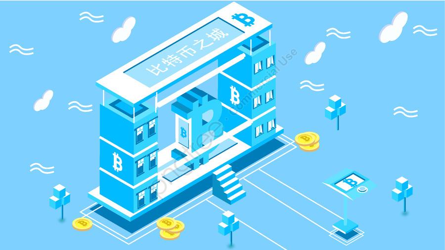 Original Finance Bitcoin Blue Series 2 5d Style Vector Illustration, 2.5d, Building, Bitcoin llustration image