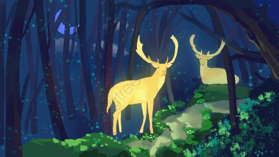 푸릇푸릇 치유계 삼림과 사슴 삽화, 구름., 발광하다., 아름답다. llustration image
