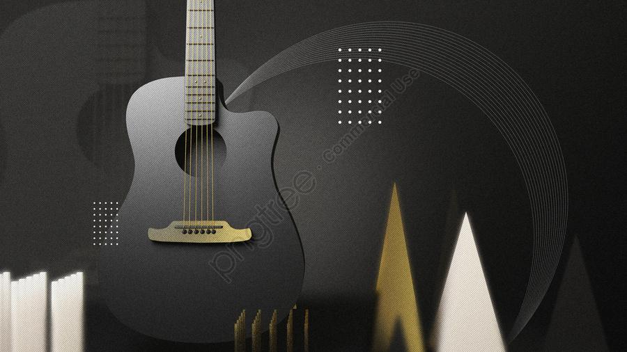 C4d Creative Guitar Music Black Gold Musical Instrument Scene Stereo Illustration, C4d, Creative, Guitar llustration image