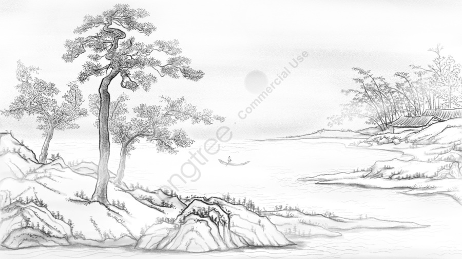 Chinese Style Landscape Ink Hand Drawn Illustration, Chinese Style, Landscape, Ink llustration image