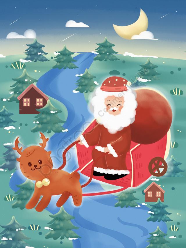 크리스마스 이브 엘크 노인 선물 Goodnight Night Winter Snow, 크리스마스, 크리스마스 이브, 엘크 llustration image
