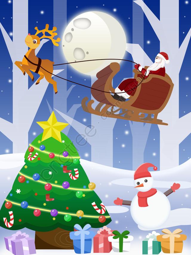 عيد الميلاد سانتا كلوز مع شجرة, عيد الميلاد, بابا نويل, شجرة عيد الميلاد llustration image