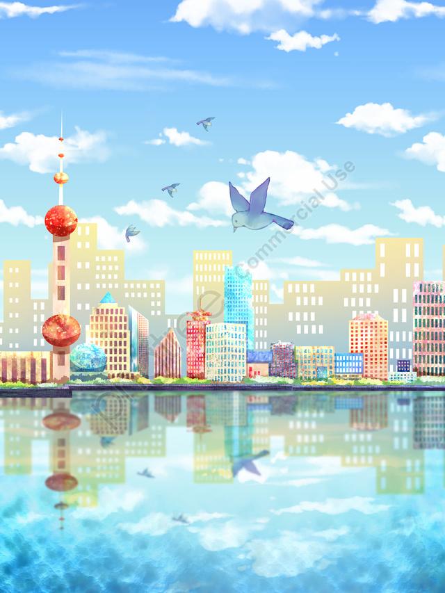 上海のオリジナルイラスト都市シルエット, 市, シルエット, 元の llustration image