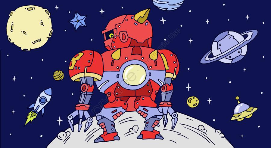 Cosmic Adventure Robot Planet Ufo Meteor Rocket Moon Science Fiction, Cosmic Exploration, Robot, Planet llustration image