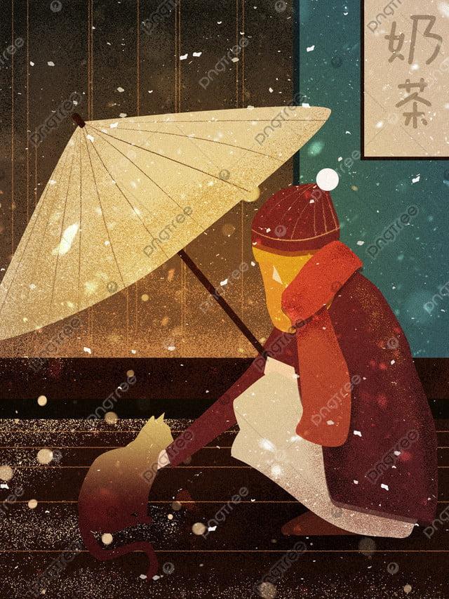 Cute Pet Cat Accompanying Winter Snow Girl Texture Illustration, Cute Pet, Cat, Girl llustration image