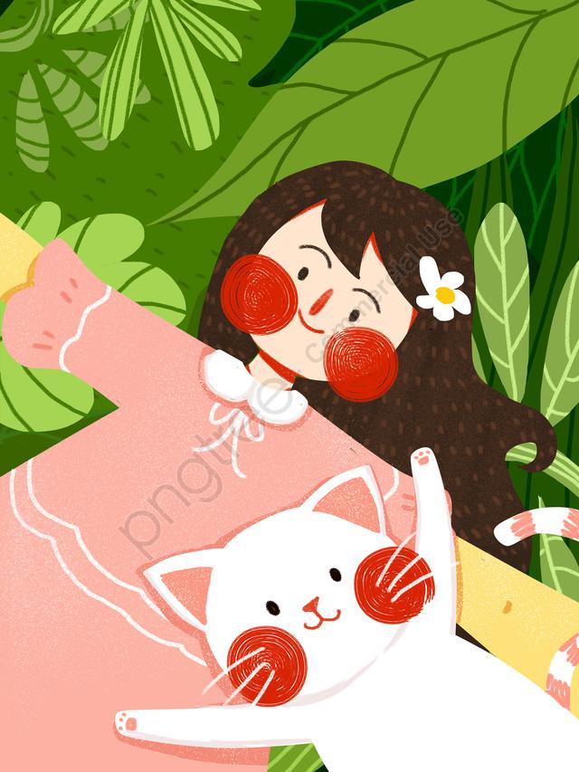December Hello Girl Cat Cute Illustration Original Simple, Disember, Hello, Gadis Remaja llustration image