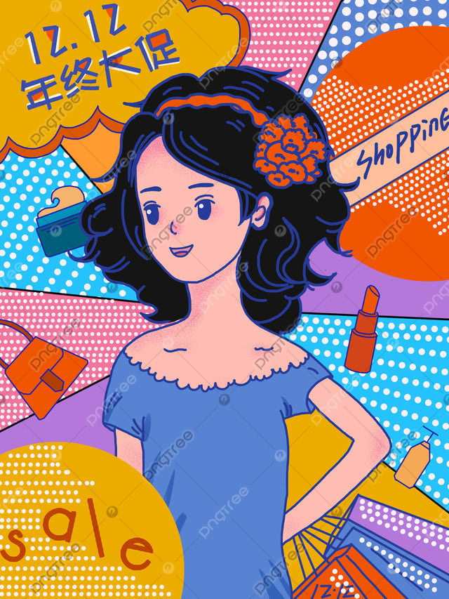 Double 12 Years Great Promotion Shopping Spree Girl, Double Twelve, Taobao, Shopping Spree llustration image