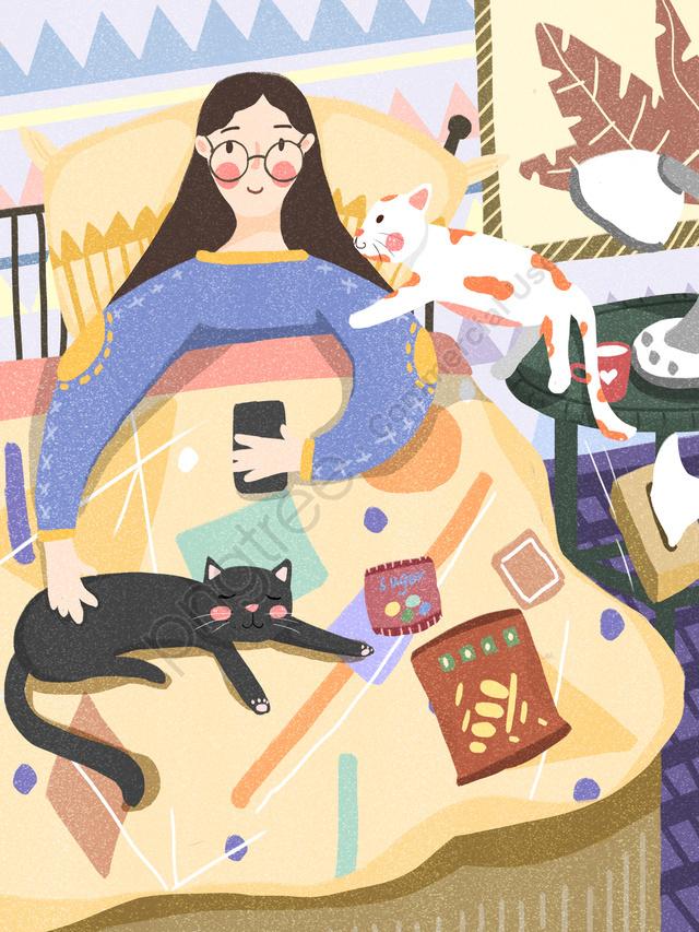 Счастливая жизнь толстяка в постели кота спящего на мобильном телефоне, Жирный дом, Счастливая жизнь, Игра на мобильном телефоне llustration image