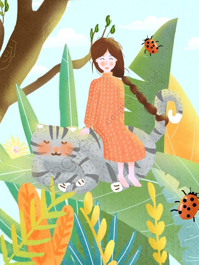 Girl And Cat Original Fresh Illustration, Girl, Cat, Plant llustration image