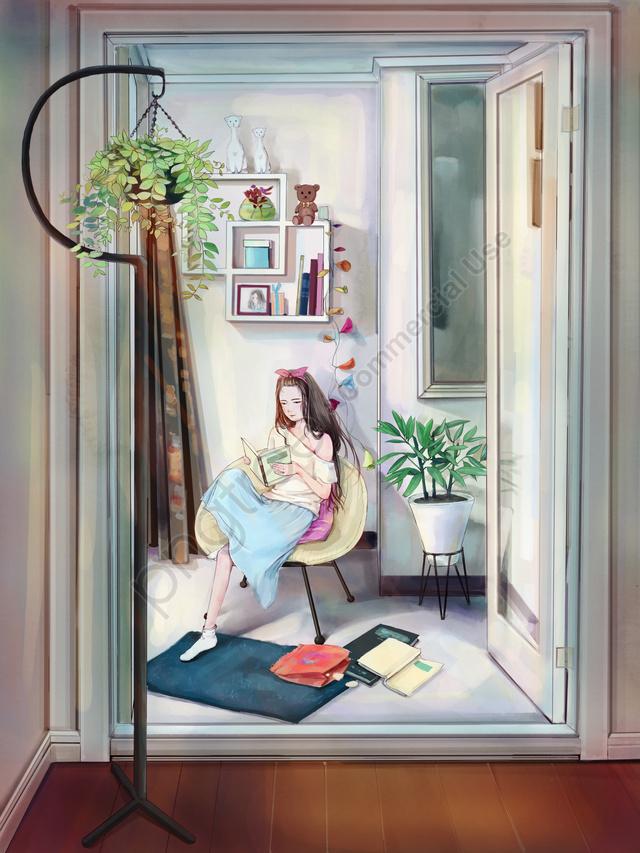 Original Small Fresh Illustration Girl Reading A Book, Girl, Scene Illustration, Small Fresh llustration image