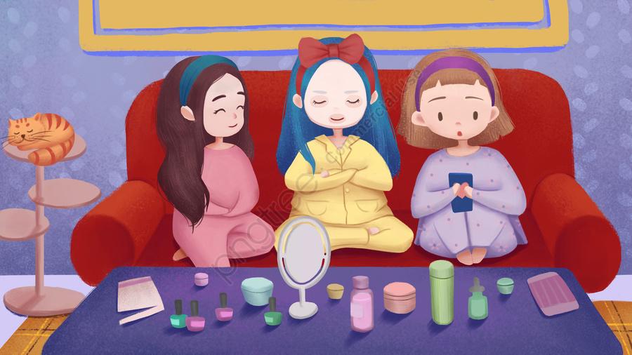 Girlfriend Makeup Skin Care Mask, Girlfriend, Make Up, Skin Care llustration image