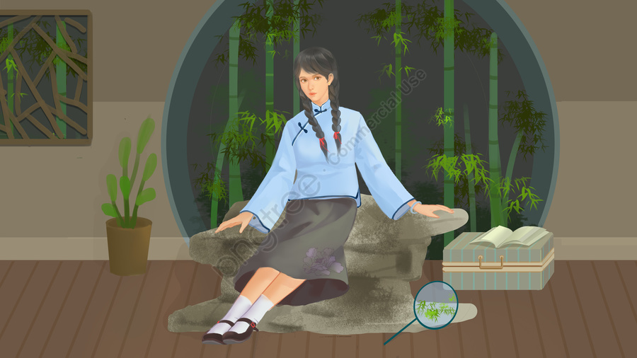 Grey Republic Retro Wind Girl Illustration, Gray, Republic Of China, Retro llustration image