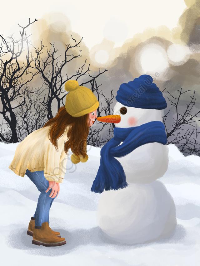 12 월 안녕하세요 겨울 야외 아름다운 풍경 눈사람과 소녀, 안녕, 12 월., 겨울 llustration image