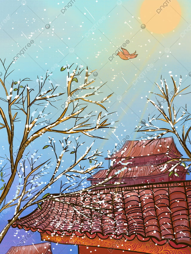Chinese Style Watercolor Painting December Snowing Beautiful Illustration, Hello, December., Winter llustration image