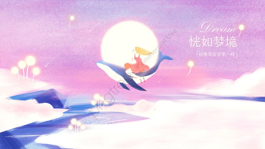 あたたかい癒しの夢と鯨イラストなどのイディオム, イディオム, イディオム物語, 夢のような llustration image