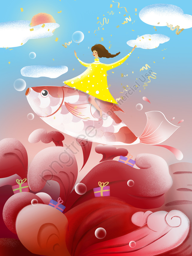 The Next Koi Is Your Texture Realistic And Good Luck, Koi, Good Luck, Girl llustration image