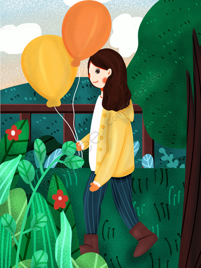 Winter December Hello Cute Little Fresh Girl Holding Balloons, Lovely, Small Fresh, Illustration llustration image