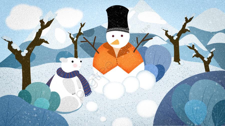 Snowman Playing Snowballs Winter Snowing Polar Bear, Make A Snowman, Winter, Snowing llustration image