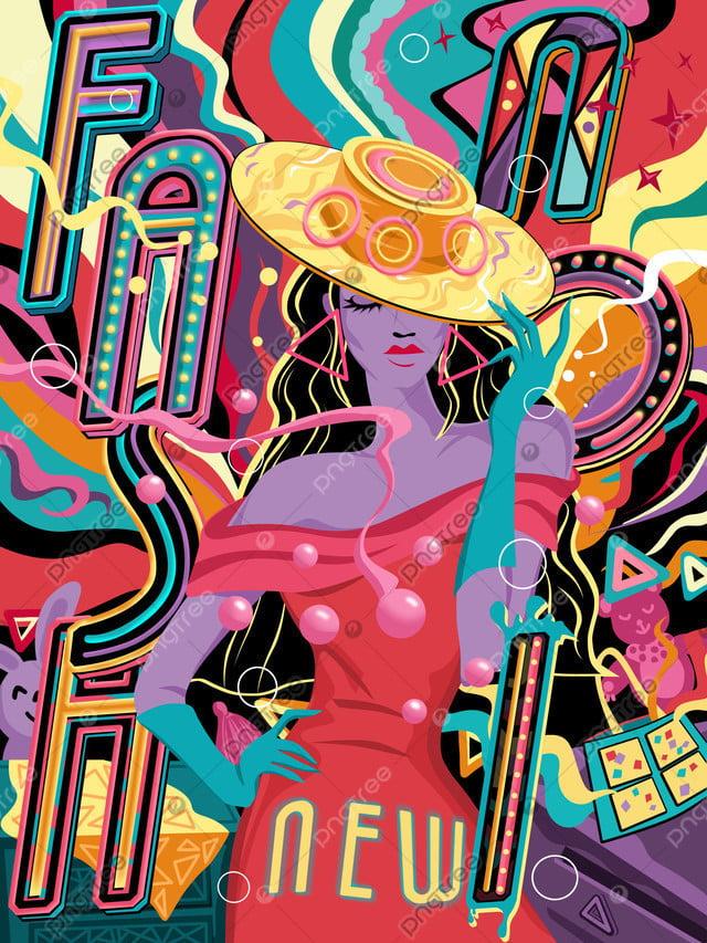 Original Hand Drawn Illustration Flowing Candy Color Fashion Girl, Mobile Candy Color, Candy Colors, Multicolored llustration image