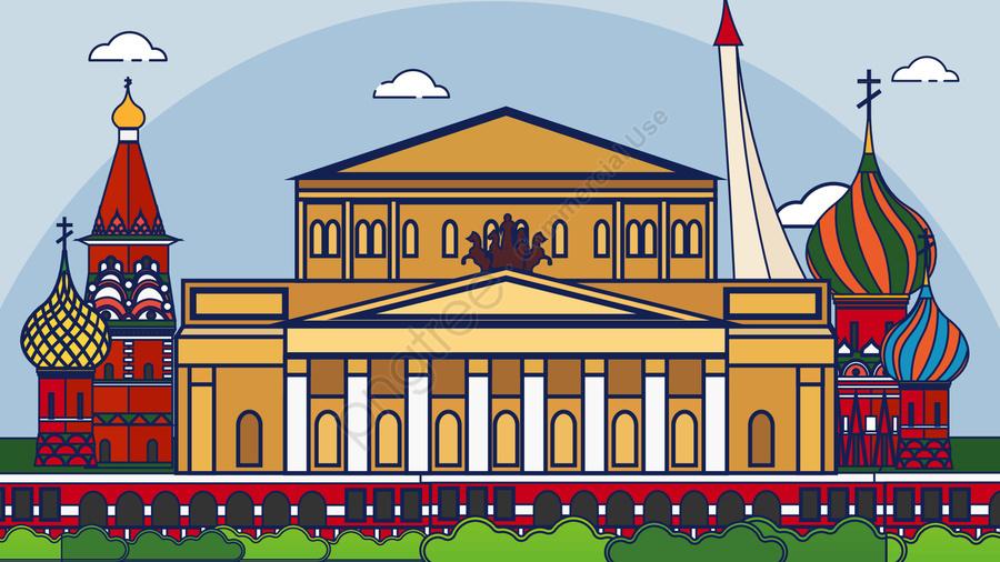 Russian cartoon vector architecture, Russia, Vector, Building llustration image