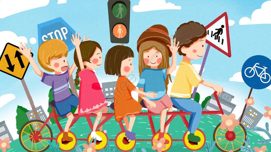 安全な旅行文明交通サイクリング子供漫画かわいいイラスト, 安全な旅行, 文明化された交通, こども llustration image