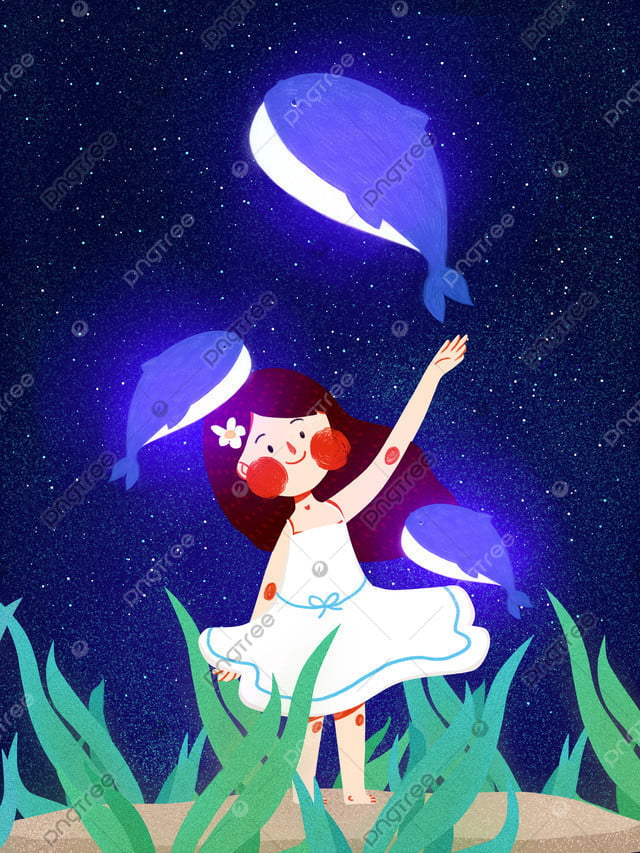 クジラの女の子と海の青のクジラのキュートでシンプルなオリジナルイラスト, 海, 深海, 会う llustration image