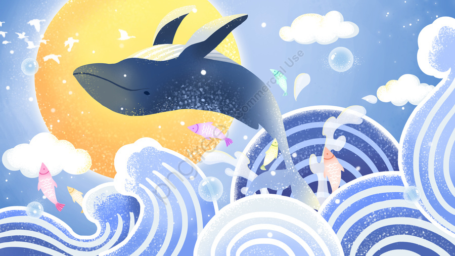 Sea Blue Cure Whale Jump Surface, See The Whale When The Sea Is Blue, Whale, Wave llustration image