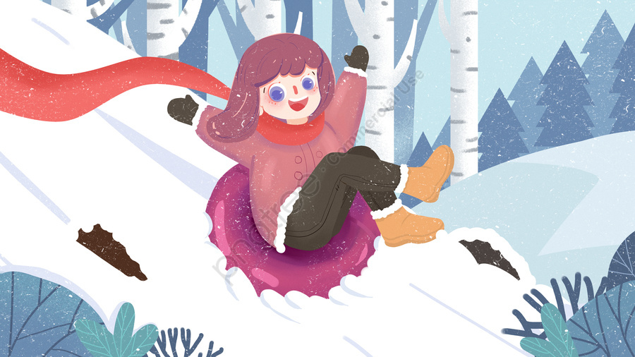 Winter Cute Girl Forest Skiing, Teenage Girl, Winter, Lovely llustration image