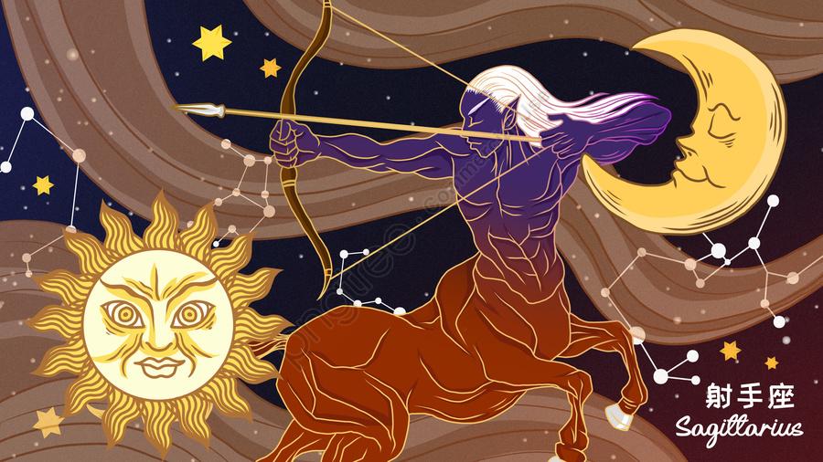 Beautiful Mythology Twelve Constellation Sagittarius Illustration, Twelve Constellation Illustration, Sagittarius Illustration, Twelve Constellations llustration image